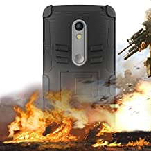 Motorola Moto X Play Case, EC™ Combo Rugged Shell Cover Holster Case with Built-in Kickstand and Holster Locking Belt Clip for Droid Maxx 2 / Moto X Play (Holster-Black)