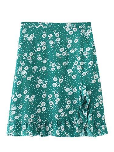 WDIRARA Women's Elegant Mid Waist Above Knee Ruffle Hem Floral Wrap Skirt Green S ()