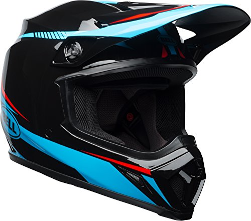 - Bell MX-9 MIPS Off-Road Motorcycle Helmet (Gloss Black/Cyan/Red Torch, Large)