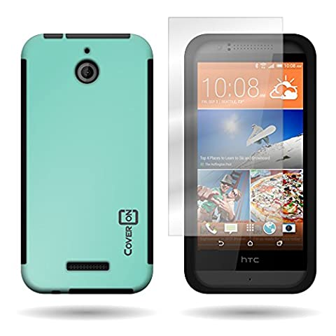 CoverON for HTC Desire 510 - Hybrid Hard Rubberized Plastic Case - Teal + Black Cover Included Screen (Htc Desire 510 Flap Case)