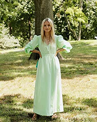 The Drop Women's Spearmint Green Loose Fit V-Neck Balloon Sleeve Maxi Dress by @thefashionguitar, XXS