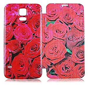 WQQ Rose Patrón PU Leather Case cuerpo completo para Samsung Galaxy i9600 S5