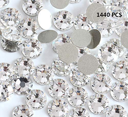 1440PCS Fireboomoon Crystal (001) clear Swarovski, Crystal Nail Art Flatbacks Rhinestones, Flat backs Rhinestones 5mm ss20.