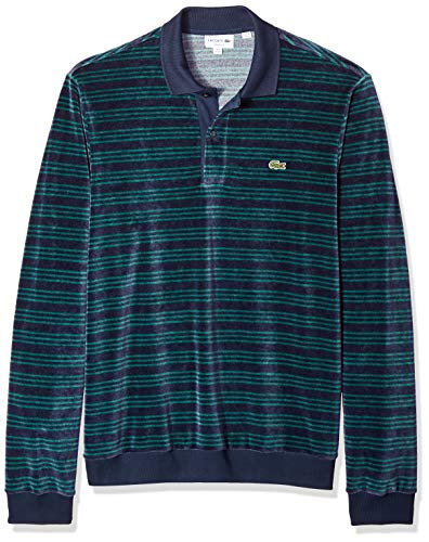 Lacoste Men's Long Sleeve Relaxed Fit Striped Velour Polo, Meridian Blue/ACONIT XX-Large
