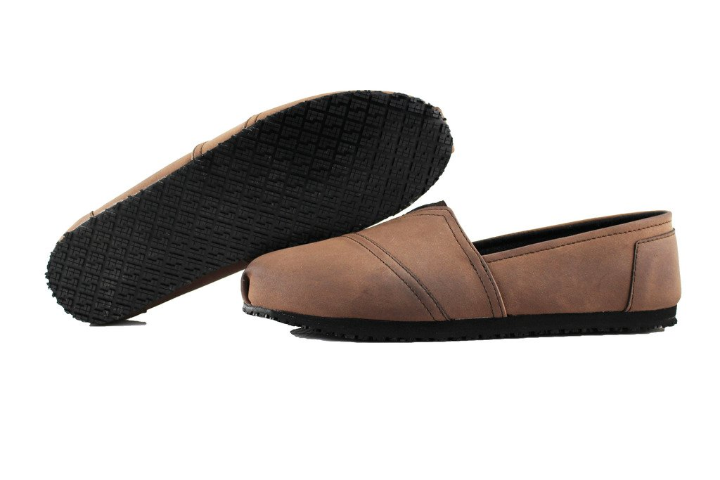 Townforst Women's Slip and Oil Resistant Non Slip Work Shoes Jess PU Leather Slip-On Brown Flat 9