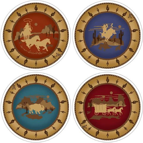 Western Silhouettes Absorbent Coasters
