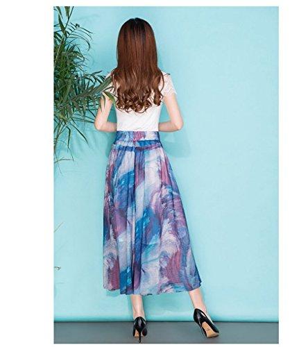Style Acmede Été Jambe 2 Fleur Taille En Large Mousseline Élastique Casual Imprimé Palazzo Haute Fluide Femme Pantalon qqwRfZ