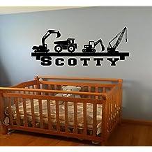 FLASH sale Boy's room Wall Shelf name construction Crane dump truck equipment diy wall art decor decal Our Popular Design decal