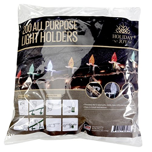 Holiday Joy - 200 All Purpose Gutter Hooks for Outdoor Christmas Lights - Made in USA (Hanging Lights For Clips Christmas)