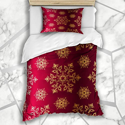 Ahawoso Duvet Cover Sets Twin 68X86 Snow Red Victorian Redand Gold Christmas Brocade Celebration Holidays Pattern Intricate Filigree Microfiber Bedding with 1 Pillow Shams