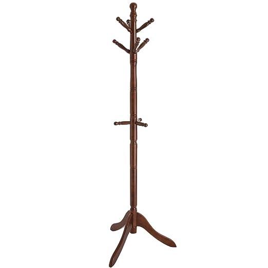 Amazon.com: VASAGLE Perchero de pie libre, de madera, para ...