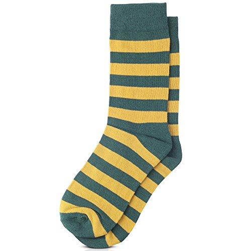 Jacob Alexander College Stripe Cotton Dress Socks - Green Gold,One Size