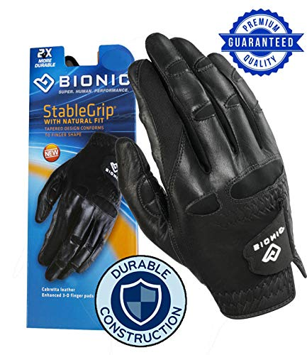 New Improved 2X Long Lasting Bionic StableGrip Men's Black Golf Glove - Patented Stable Grip Genuine Cabretta Leather, Natural Fit Designed by Orthopedic Surgeon! (Large, Worn on Left Hand)