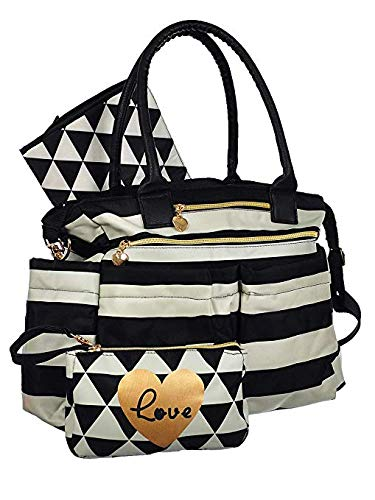 Emma & Chloe Diaper Bag Tote Purse with Crossbody Strap, Portable Changing Pad, & Matching Wristlet for Moms ()