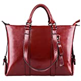 S-ZONE 3-Way Women's Genuine Leather Shoulder Tote Bag Handbag (Wine)