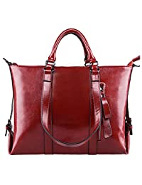 S-ZONE 3-Way Women's Genuine Leather Shoulder Tote Bag Handbag (Wine)
