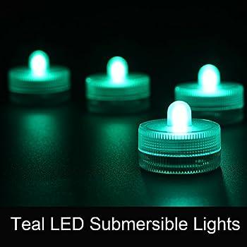 Amazon Com Submersible Led Lights 10pcs Battery Operated 3cm Teal Waterproof Led Tea Light