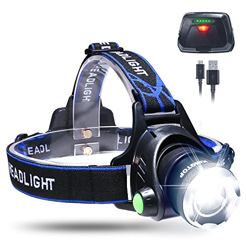 LED Headlamp Waterproof KINGTOP USB Rechargeable Headlight Flashlight with Power Indicator Zoomable 3 Modes Super Bright LED 1800 Lumen Perfect for Camping Jogging Walking and other Outdoor Sports