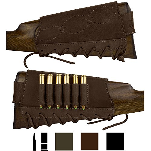 BronzeDog Adjustable Leather Buttstock Cartridge Ammo Holder for Rifles 12, 16 Gauge,...