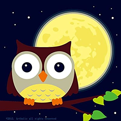 Colour Talk DIY Oil Painting, Paint by Number Kits for Kids - Owl and Yellow Moon 8