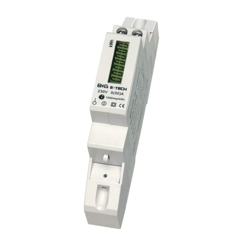 B+G E-Tech DRS155DC-V3 - LCD digitaler Wechselstromzä hler Stromzä hler mit Leistungsanzeige 5(50) A fü r Hutschiene mit S0 2000 Imp./kWh (30ms) & Rü cklaufsperre