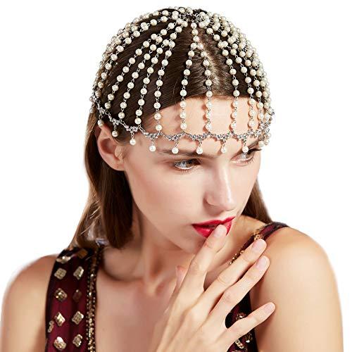 BABEYOND Vintage 1920s Crystal Flapper Cap Headpiece Roaring 20s Gatsby Pearl Rhinestone Flapper Cap Headpiece 1920s Gatsby Accessories (Style 3)