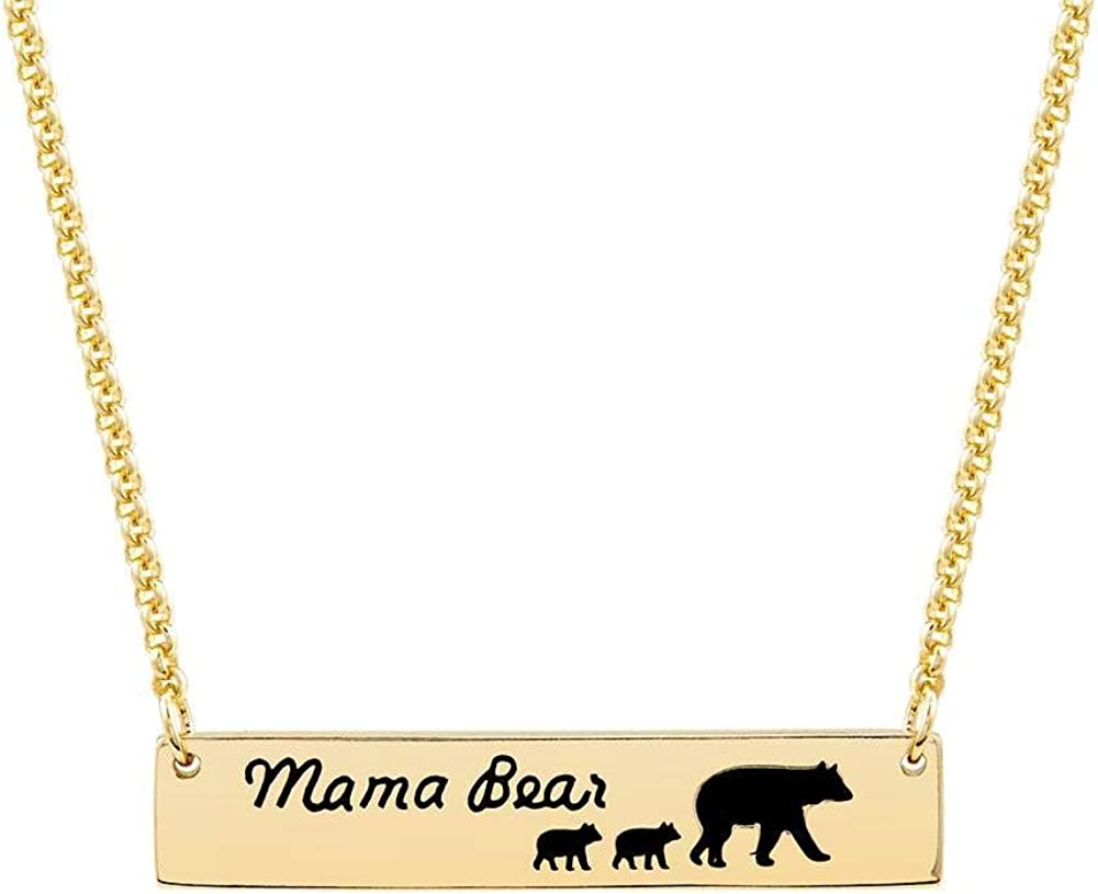 Cub Necklace Mom Mothers Day Kids Metal Round Jewelry Momma Silver Mama Bear 2