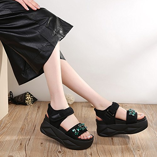 Sports Roman Woman Sandals Open Green Bottom Toe Velcro ZCJB Shoes Muffin Thick Casual x6xYw1Tqv