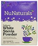 NuNaturals NuStevia White Stevia Powder, Calorie-Free Natural Sweetener Packets, 100-Count (Packaging May Vary)