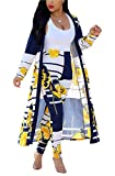 MarcoJudy Womens Long Sleeve Stripe and Floral Cardigan Cover up Long Pants 2 Piece Suit Set Outfits, Yellow, Large