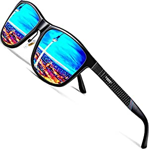 ATTCL Men's Driving Polarized Wayfarer Sunglasses Al-Mg Metal Frame Ultra Light 858-8 Blue