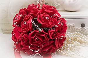 WEDDING FLOWERS BRIDESMAID BOUQUET IN BRIGHT RED