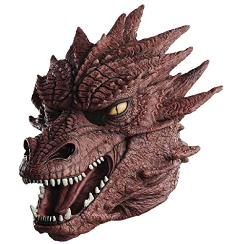 Realistic Dragon Head Mask Horrible Monster Scary Halloween Latex Mask for Adult Red]()