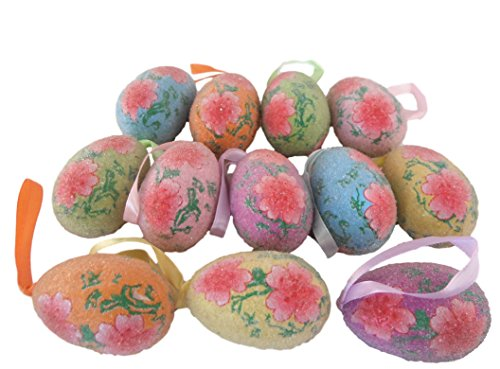 Bumpy Flower Bead (12 Beaded Easter Egg Tree Ornaments with Ribbon Loops for Hanging (Pink Blossoms))