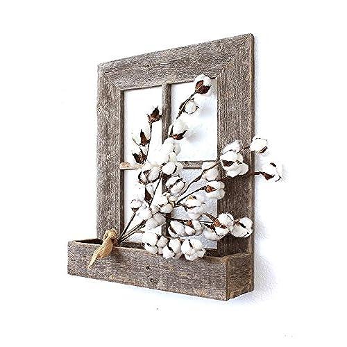Window wall decor amazon barnwoodusa rustic window planter frame 100 reclaimed wood weathered gray ppazfo