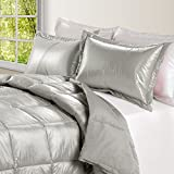 PUFF High Loft Down Indoor/Outdoor Water Resistant Comforter with Extra Strong Nylon Cover, King, Pewter