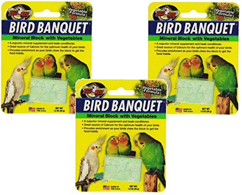 (3 Pack) Zoo Med Laboratories Bird Banquet Vegetable Mineral Block, Small