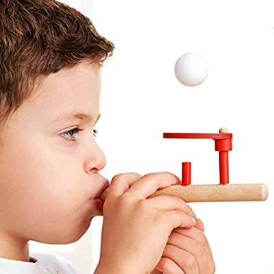 Wooden Intelligence toy Classic Wooden Games Floating Blow Pipe & Balls Blowing Toy for Children kids toys Early Education Wood Toys: Everything Else