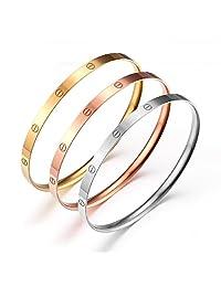Women's Set of 3 Tri-color Silver/ Gold / Rose Gold Stainless Steel Bracelet Bangle