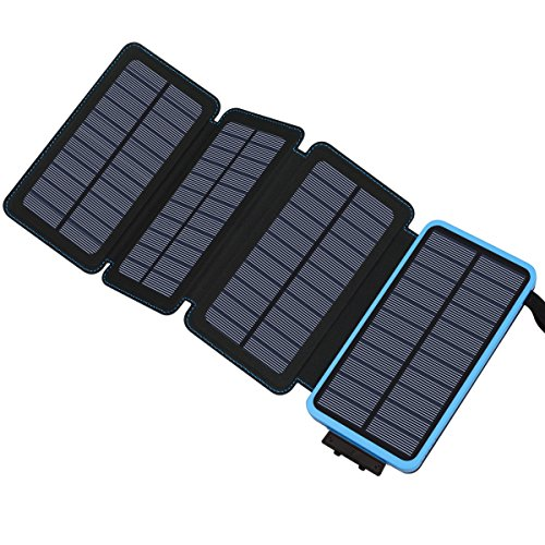 Hiluckey 25000mAh Solar Charger for Cell Phones, Battery Power Bank with 4 Fast Rechager Charging Solar Panels (Blue) by Hiluckey
