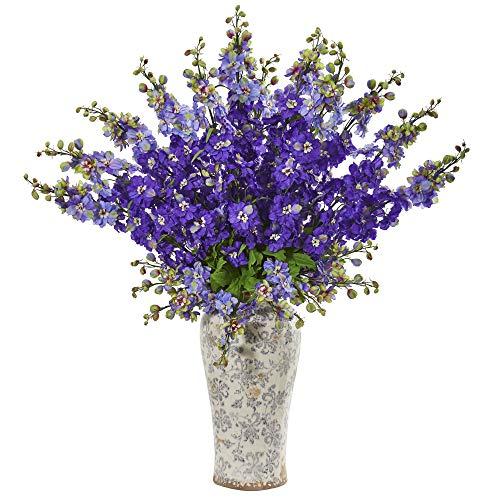 """Nearly Natural 1880-PP 38"""" Delphinium Artificial Decorative Vase Silk Arrangements, Purple"""