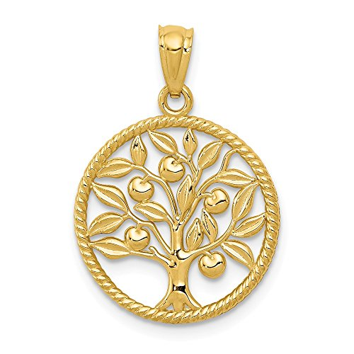 14k Yellow Gold Tree Of Life In Round Pendant Charm Necklace Inspiration Outdoor Nature Fine Jewelry Gifts For Women For Her