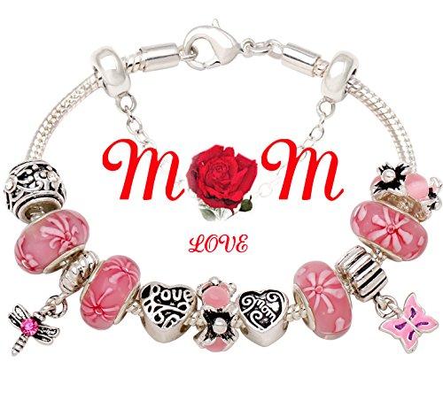 Mothers Bead Charm Silver tone Bracelet