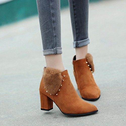 Heel Ankle Jamicy Zipper Boots High Fashion Women Fluffy Shoes Brown YYqCXw