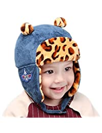 RIY Baby Girls Boys Winter Bomber Trooper Hat Kids Warm Sherpa Hats with EarFlap blue
