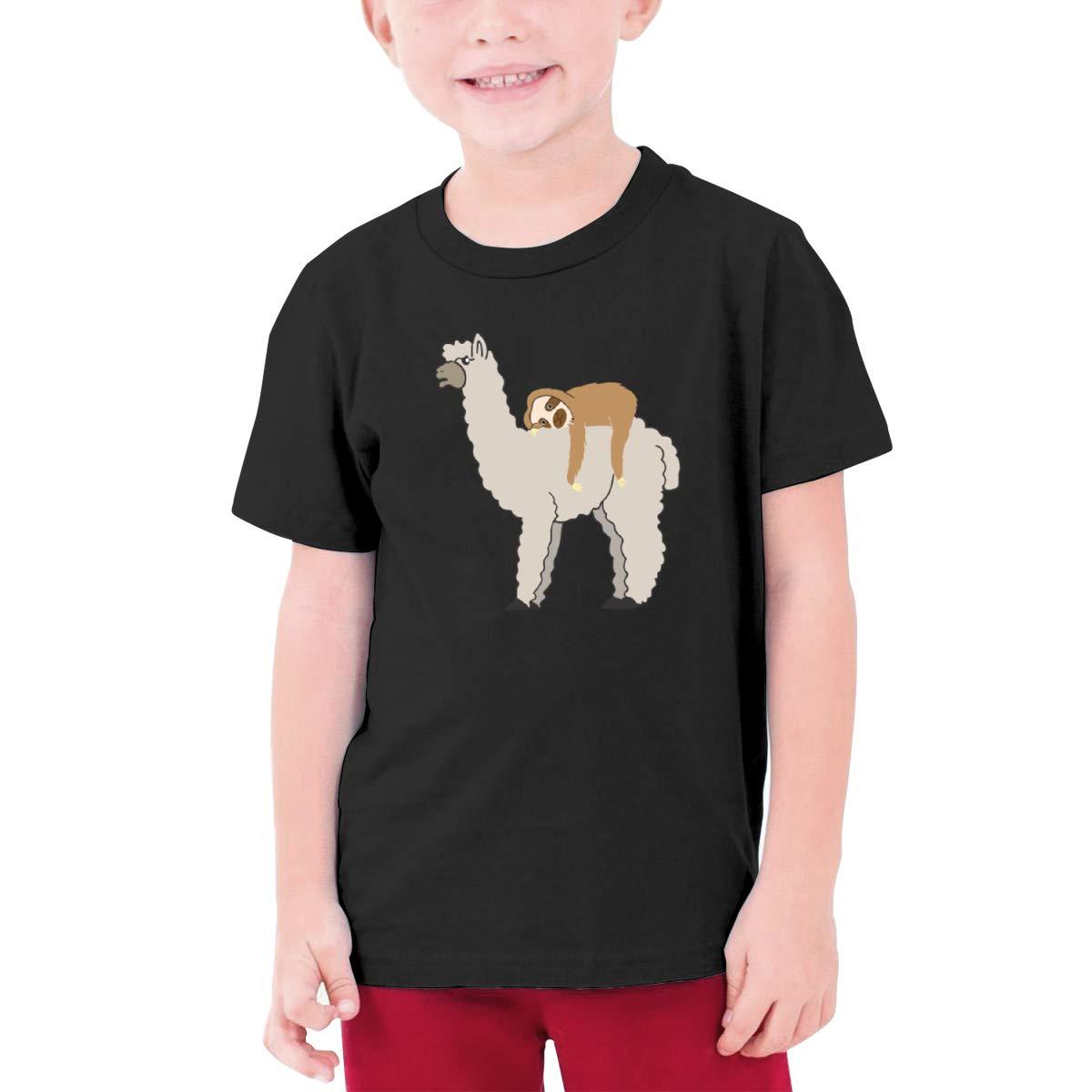 Fzjy Wnx Funny Sleepy Sloth /& Llama Boy Short-Sleeved T-Shirt