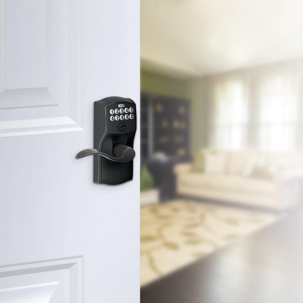 Aged Bronze Schlage FE595VCAM716ACC FE595VCAM//ACC 716 Keypad Accent Lever Door Lock Flex