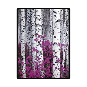 Soft Material Birch Tree Fleece Blanket 58 inches x 80 inches (Large)