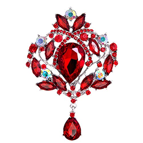 SANWOOD Gorgeous Flower Teardrop Rhinestone Pendant Brooch Pin (Red-silver Plated)