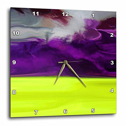 3D Rose Image of Purple Chartreuse and Silver Foil Abstract Art Wall Clock, 10
